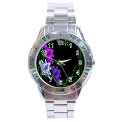 Neon Flowers Floral Rose Light Green Purple White Pink Sexy Stainless Steel Analogue Watch by Alisyart