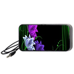 Neon Flowers Floral Rose Light Green Purple White Pink Sexy Portable Speaker (black) by Alisyart