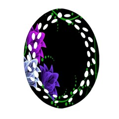 Neon Flowers Floral Rose Light Green Purple White Pink Sexy Ornament (oval Filigree) by Alisyart