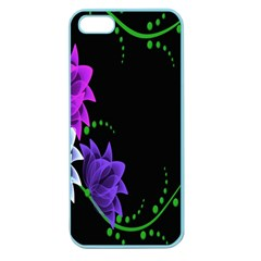 Neon Flowers Floral Rose Light Green Purple White Pink Sexy Apple Seamless Iphone 5 Case (color) by Alisyart