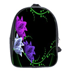 Neon Flowers Floral Rose Light Green Purple White Pink Sexy School Bags (xl)  by Alisyart