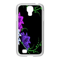 Neon Flowers Floral Rose Light Green Purple White Pink Sexy Samsung Galaxy S4 I9500/ I9505 Case (white)