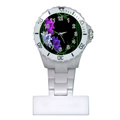 Neon Flowers Floral Rose Light Green Purple White Pink Sexy Plastic Nurses Watch by Alisyart