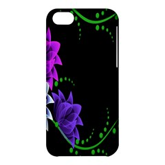Neon Flowers Floral Rose Light Green Purple White Pink Sexy Apple Iphone 5c Hardshell Case by Alisyart