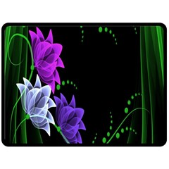 Neon Flowers Floral Rose Light Green Purple White Pink Sexy Double Sided Fleece Blanket (large)  by Alisyart