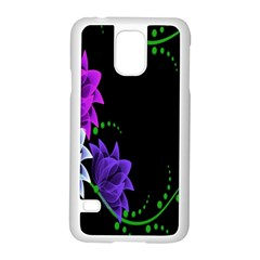 Neon Flowers Floral Rose Light Green Purple White Pink Sexy Samsung Galaxy S5 Case (white) by Alisyart