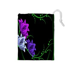 Neon Flowers Floral Rose Light Green Purple White Pink Sexy Drawstring Pouches (medium)  by Alisyart