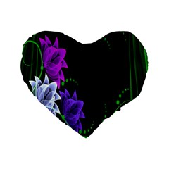 Neon Flowers Floral Rose Light Green Purple White Pink Sexy Standard 16  Premium Flano Heart Shape Cushions by Alisyart