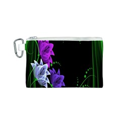 Neon Flowers Floral Rose Light Green Purple White Pink Sexy Canvas Cosmetic Bag (s) by Alisyart