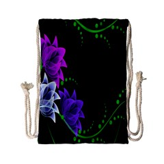 Neon Flowers Floral Rose Light Green Purple White Pink Sexy Drawstring Bag (small) by Alisyart