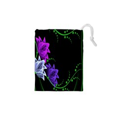 Neon Flowers Floral Rose Light Green Purple White Pink Sexy Drawstring Pouches (xs)  by Alisyart