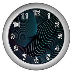 Line Light Blue Green Purple Circle Hole Wave Waves Wall Clocks (silver)  by Alisyart