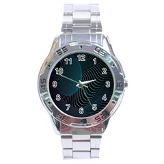 Line Light Blue Green Purple Circle Hole Wave Waves Stainless Steel Analogue Watch by Alisyart