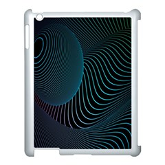 Line Light Blue Green Purple Circle Hole Wave Waves Apple Ipad 3/4 Case (white) by Alisyart