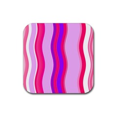 Pink Wave Purple Line Light Rubber Square Coaster (4 Pack)  by Alisyart
