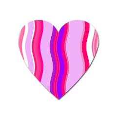 Pink Wave Purple Line Light Heart Magnet by Alisyart