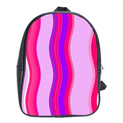 Pink Wave Purple Line Light School Bags(large)  by Alisyart