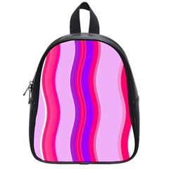 Pink Wave Purple Line Light School Bags (small)  by Alisyart