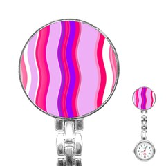 Pink Wave Purple Line Light Stainless Steel Nurses Watch by Alisyart