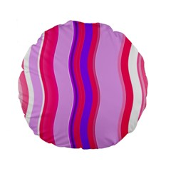Pink Wave Purple Line Light Standard 15  Premium Flano Round Cushions by Alisyart