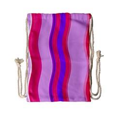 Pink Wave Purple Line Light Drawstring Bag (small) by Alisyart