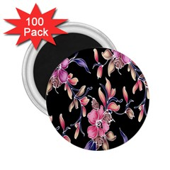 Neon Flowers Rose Sunflower Pink Purple Black 2 25  Magnets (100 Pack)  by Alisyart