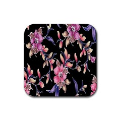 Neon Flowers Rose Sunflower Pink Purple Black Rubber Coaster (square)  by Alisyart