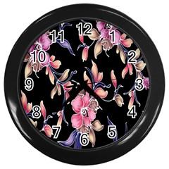 Neon Flowers Rose Sunflower Pink Purple Black Wall Clocks (black) by Alisyart