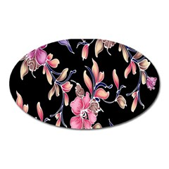 Neon Flowers Rose Sunflower Pink Purple Black Oval Magnet by Alisyart