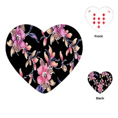 Neon Flowers Rose Sunflower Pink Purple Black Playing Cards (heart)  by Alisyart