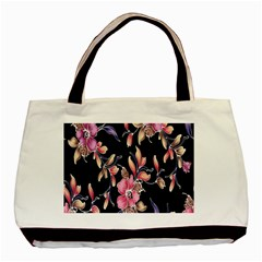 Neon Flowers Rose Sunflower Pink Purple Black Basic Tote Bag by Alisyart