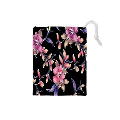 Neon Flowers Rose Sunflower Pink Purple Black Drawstring Pouches (small)  by Alisyart