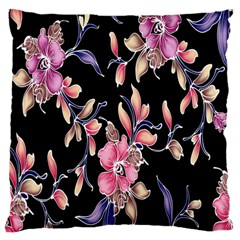 Neon Flowers Rose Sunflower Pink Purple Black Large Flano Cushion Case (two Sides) by Alisyart