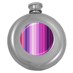 Pink Vertical Color Rainbow Purple Red Pink Line Round Hip Flask (5 Oz) by Alisyart
