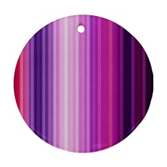 Pink Vertical Color Rainbow Purple Red Pink Line Round Ornament (two Sides) by Alisyart