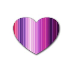Pink Vertical Color Rainbow Purple Red Pink Line Rubber Coaster (heart)  by Alisyart