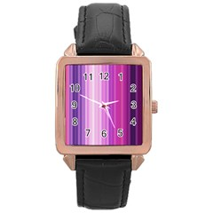 Pink Vertical Color Rainbow Purple Red Pink Line Rose Gold Leather Watch
