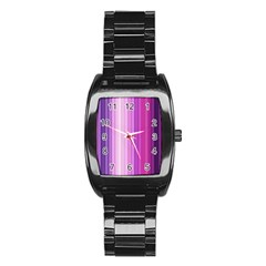 Pink Vertical Color Rainbow Purple Red Pink Line Stainless Steel Barrel Watch by Alisyart