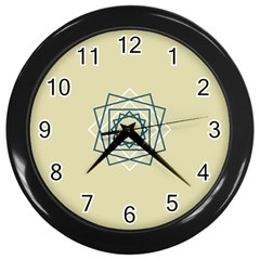 Shape Experimen Geometric Star Plaid Sign Wall Clocks (black) by Alisyart