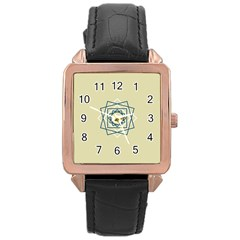 Shape Experimen Geometric Star Plaid Sign Rose Gold Leather Watch  by Alisyart