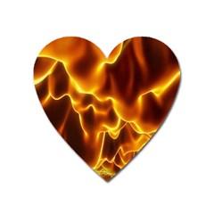 Sea Fire Orange Yellow Gold Wave Waves Heart Magnet by Alisyart
