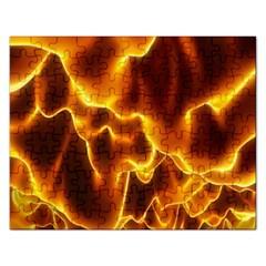 Sea Fire Orange Yellow Gold Wave Waves Rectangular Jigsaw Puzzl by Alisyart