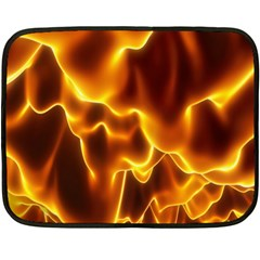 Sea Fire Orange Yellow Gold Wave Waves Double Sided Fleece Blanket (mini)  by Alisyart