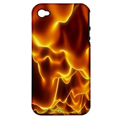 Sea Fire Orange Yellow Gold Wave Waves Apple Iphone 4/4s Hardshell Case (pc+silicone) by Alisyart
