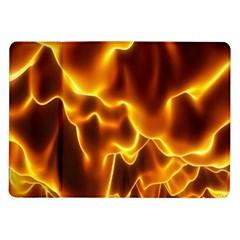 Sea Fire Orange Yellow Gold Wave Waves Samsung Galaxy Tab 10 1  P7500 Flip Case by Alisyart