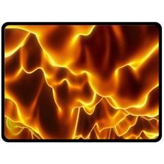 Sea Fire Orange Yellow Gold Wave Waves Double Sided Fleece Blanket (large)  by Alisyart