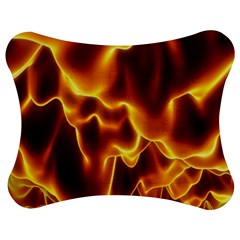 Sea Fire Orange Yellow Gold Wave Waves Jigsaw Puzzle Photo Stand (bow) by Alisyart