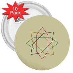 Shape Experimen Geometric Star Sign 3  Buttons (10 Pack)  by Alisyart