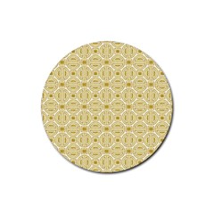 Gold Geometric Plaid Circle Rubber Round Coaster (4 Pack)  by Alisyart