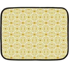 Gold Geometric Plaid Circle Fleece Blanket (mini) by Alisyart